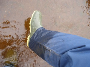 The water came to the top of my rainboots.  Thankfully my waterproof trousers kept the water out.