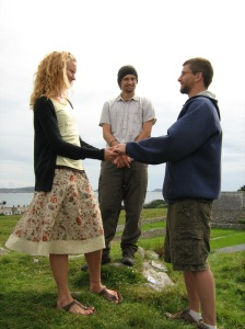 Mrs. Turkdactyl and I exchanging our vow. Adam, our theatrical vicar, in the background.