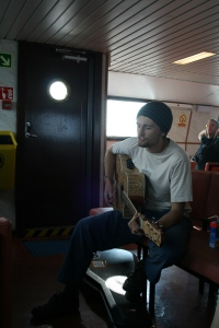 Adam singing his Ferry Song on a CalMac ferry.