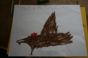 Justin's interpretation of a Turkadactyl.  Good form Justin!