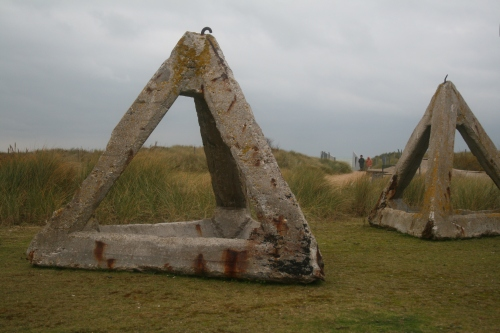 Juno Beach- beach traps for boats.  These were set up on the beach to rip the hulls of boats.