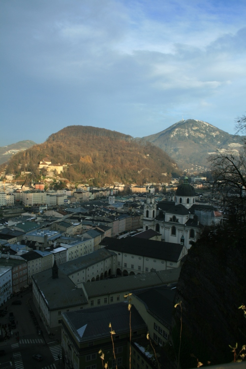 The City of Salzburg at the foot of the Alps.