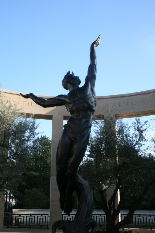 US Military Cemetary at Colleville-sur-Mer.  A statue of the spirit of a fallen soldier ascending to heaven.