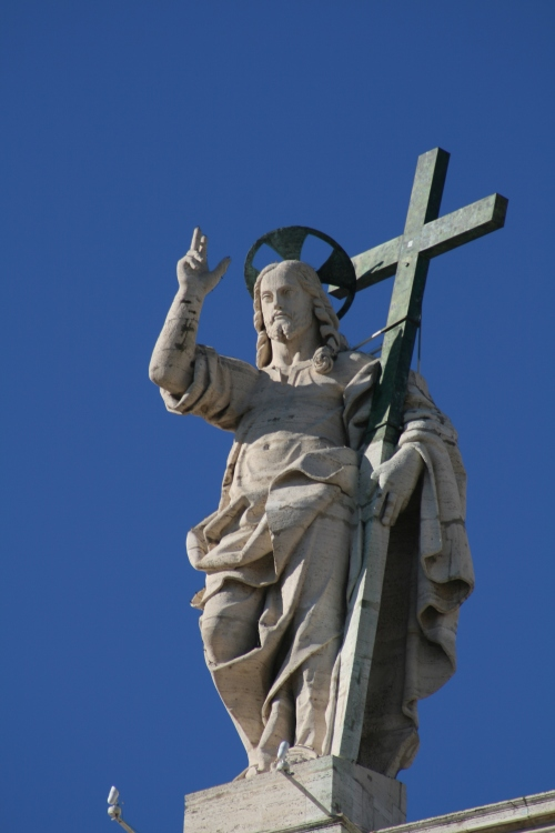 Statue of Jesus Christ atop St. Peters Basilica, Vatican City