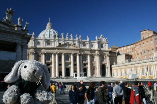 Snuggles outside St. Peter's Basilica.
