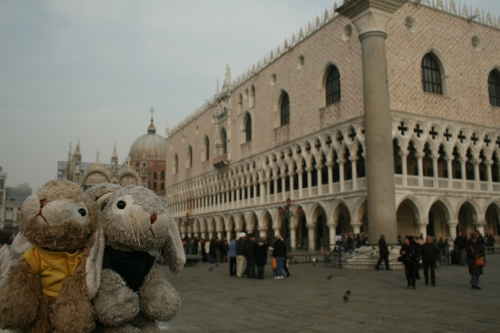 Snuggles and Sniffles in front of Palazzo Ducale.