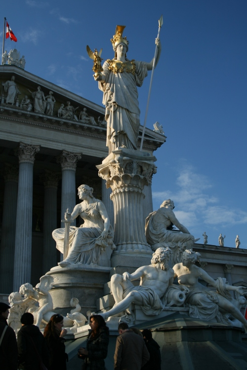 Statues in front of Austria's Parlament.