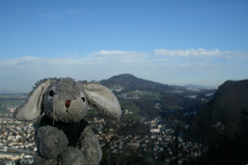 Here we have Snuggles minding his own business and doing the tourist thing at Salzburg.