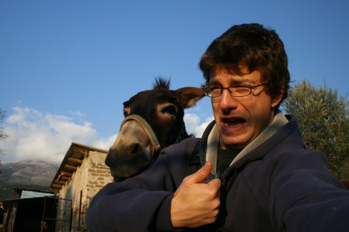 I thought this donkey was going to bite my head off.